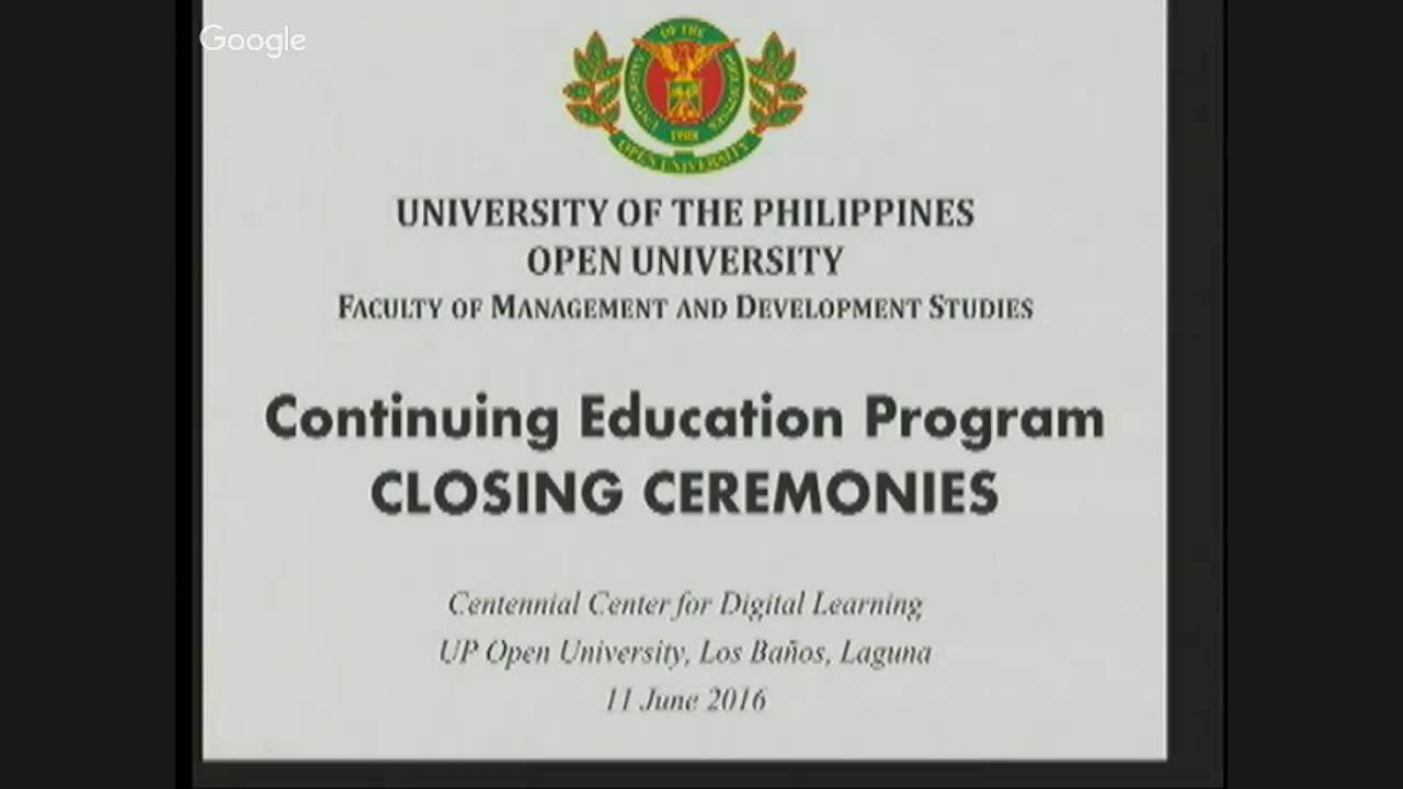 Continuing Education Program CLOSING CEREMONIES (11 June 2016)