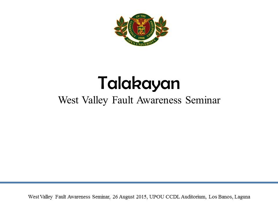 Talakayan West Valley Fault Seminar