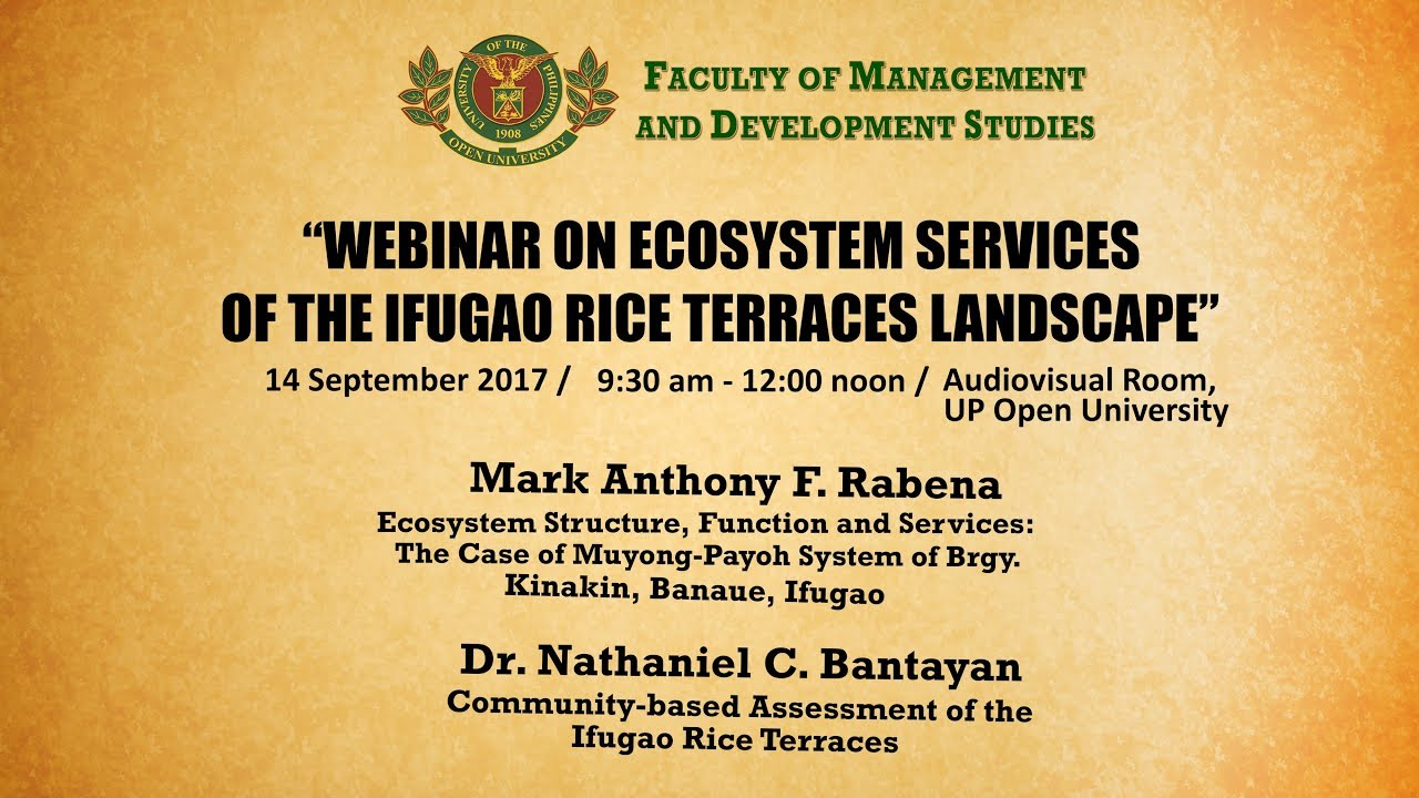 Webinar on Ecosystem Services of the Ifugao Rice Terraces Landscape