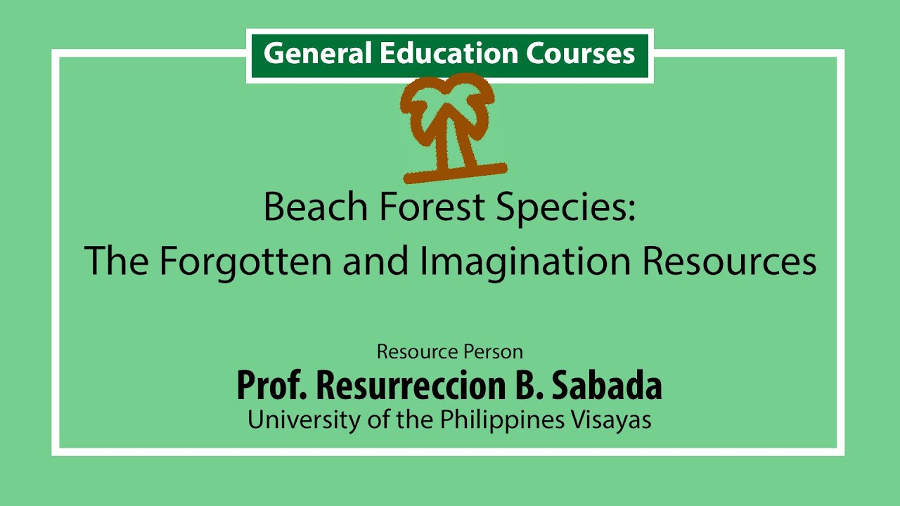 Beach Forest Species  The Forgotten and Ignored Resources | Prof. Resurreccion B. Sadaba