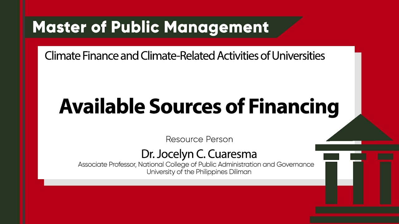 Available Sources of Financing | Dr. Jocelyn C. Cuaresma