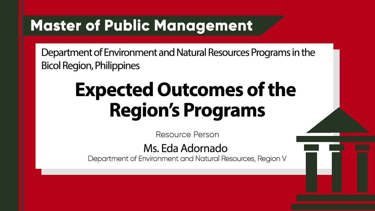 Expected Outcomes of the Region's Programs | Ms. Eda Adornado