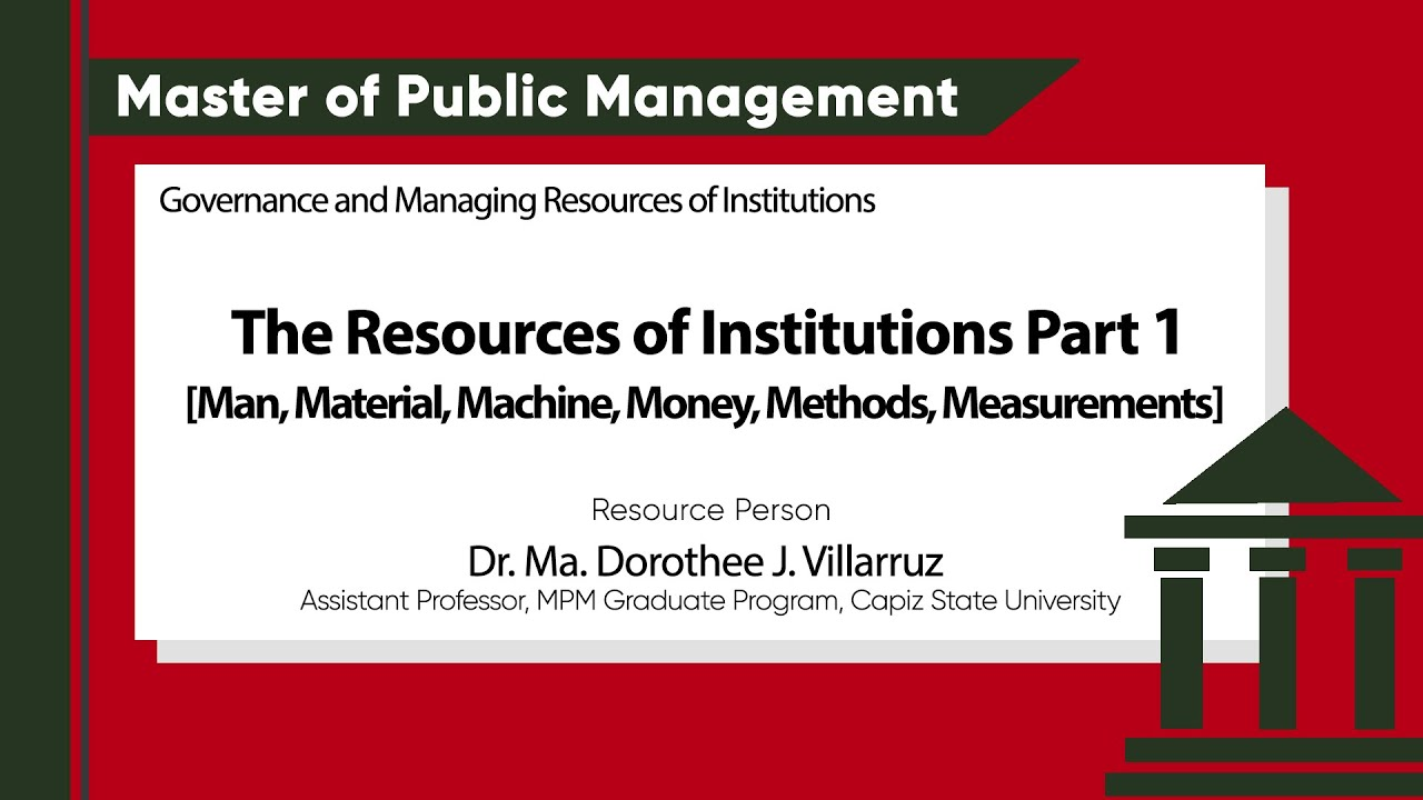 Governance and Managing Resources of Institutions: The Resources of Institutions Part 1 | Dr. Ma. Dorothee J. Villarruz