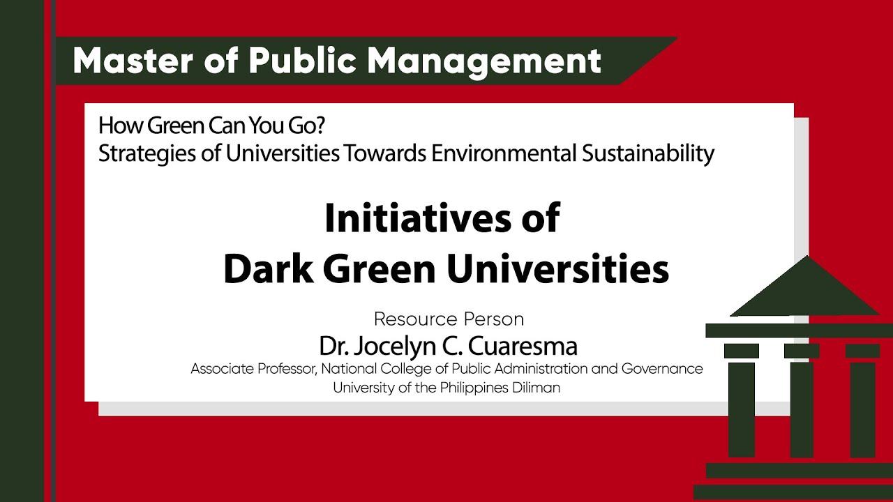Initiatives of Dark Green Universities | Dr. Jocelyn C. Cuaresma