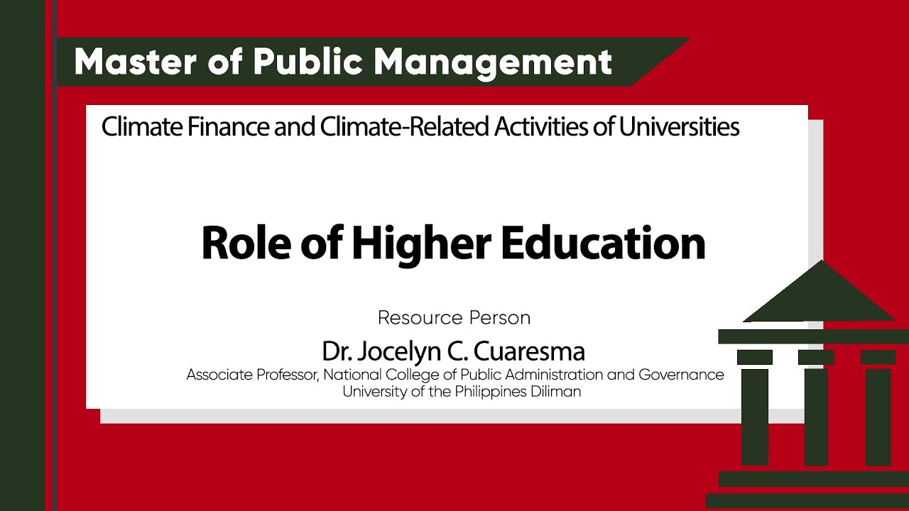 Role of Higher Education in Climate Finance and Climate-Related Activities | Dr. Jocelyn C. Cuaresma