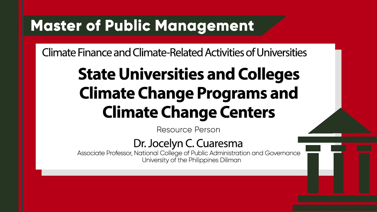 State Universities and Colleges Climate Change Programs and Climate Change Centers | Dr. Jocelyn C. Cuaresma