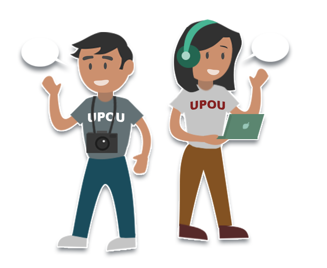 A girl and a boy waving their hand with their cameras and laptop and UPOU shirt