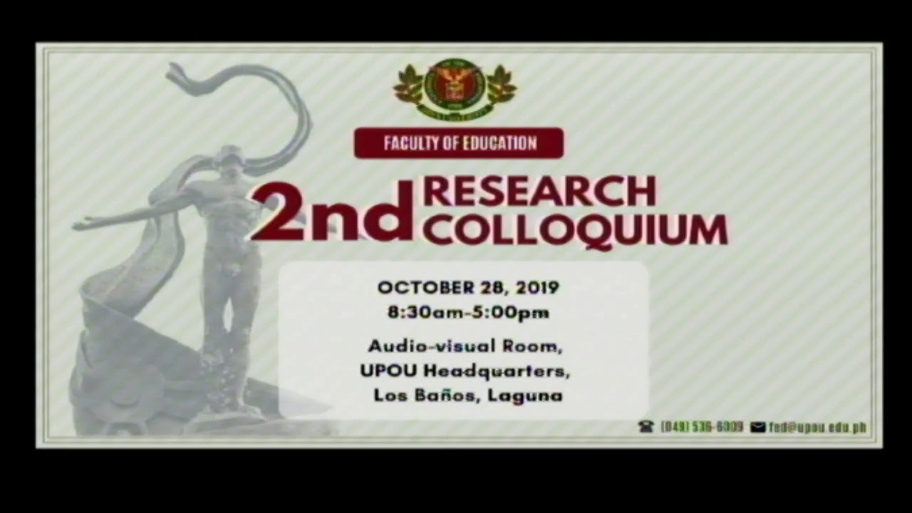 Faculty of Education: Research Colloquium (28 Oct 2019 pm)