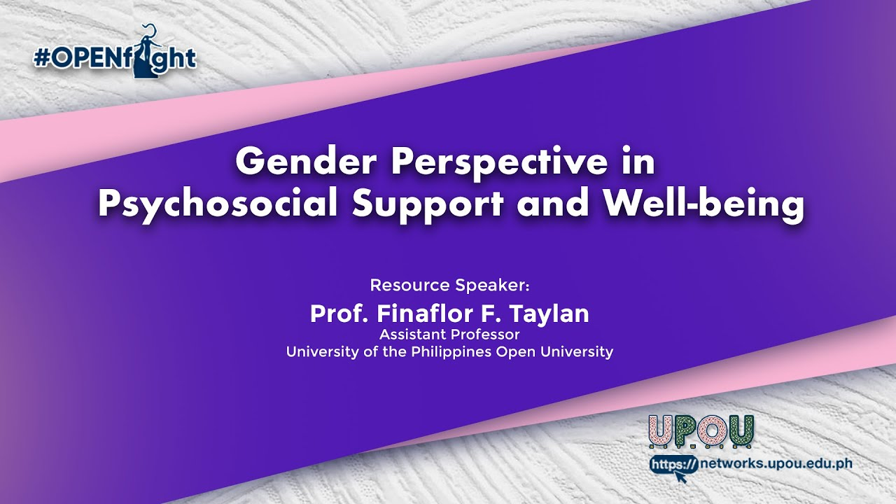 Gender Perspective in Psychosocial Support and Well-being | Prof. Finaflor F. Taylan