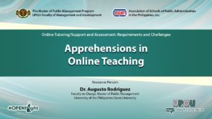 Apprehensions in Online Teaching | Dr. Augusto Rodriguez