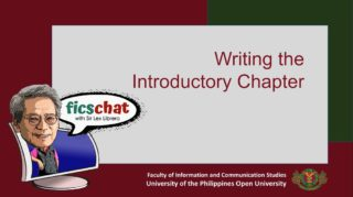 FICS Chat with Sir Lex Librero | Episode 2: Writing the Introductory Chapter