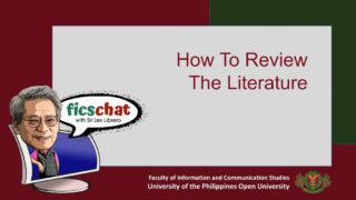 FICS Chat with Sir Lex Librero | Episode 3: How to Review the Literature