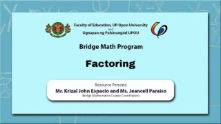 Factoring | Mr. Krizal John Espacio and Ms. Jeancell Paraiso