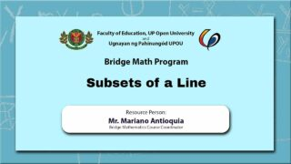 Subsets of a Line | Mr. Mariano Antioquia