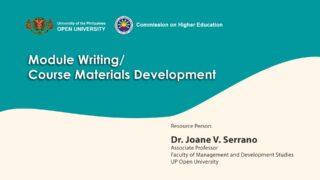 Module Writing / Course Material Development | Dr. Joane V. Serrano