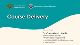 Course Delivery | Dr. Consuelo dL. Habito